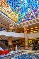 An atrium in the Wafi City Mall (an Egptian themed mall) topped by a stained glass pyramid, Dubai, United Arab Emirates
