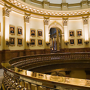 Colorado, Denver County, Denver. Colorado State Capitol building rotunda. Designed by E.E. Myers, begun in 1890, completed in 1908 with the gilding of the dome with 200 ounces of Colorado gold.