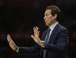 January 16, 2019 - Los Angeles, California, United States of America - Head coach, Quin Snyder of the Utah Jazz during their NBA game with the Los Angeles Clippers on Wednesday January 16, 2019 at the Staples Center in Los Angeles, California. Clippers lose to Jazz, 129-109. JAVIER ROJAS/PI (Credit Image: © Prensa Internacional via ZUMA Wire)