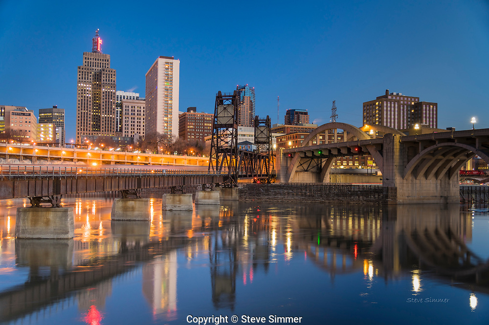 The early twilight gives downtown St. Paul a quiet glow.