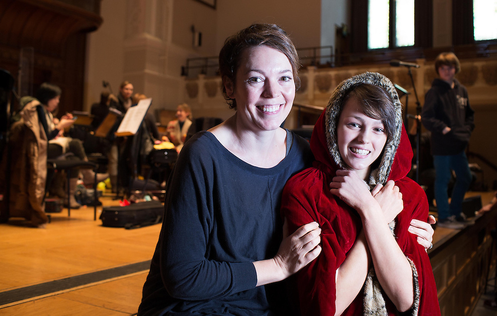 BAFTA-winning actress Olivia Colman poses Dominique Drew from the Snow Queen at Cadogan Hall, Chelsea, London on Wednesday 18th December 2013.<br /> <br /> OLIVIA COLMAN AT CADOGAN HALL REHEARSAL FOR FRIDAY CONCERT<br /> BAFTA-winning actress Olivia Colman, who will be narrating this Friday's double-bill The Snow Queen and The Griffin And The Grail at the Cadogan Hall, will be rehearsing there with the ensemble on Wednesday 18th December.