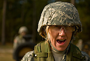 A U.S. Army Soldier  prepares to attack the dummy on the bayonet assault course at Fort Jackson, S.C., on October 23, 2008.