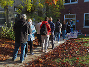 Long lines await early morning Pennsylvania voters at the Juanita College polling site.
