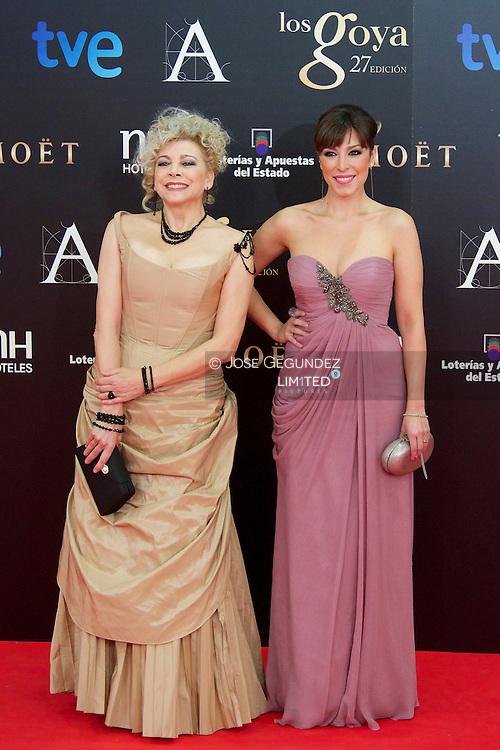 Kiti Manver and Gisella arrives to Goya Cinema Awards 2013 ceremony, at Auditorium Hotel on February 17, 2013 in Madrid, Spain
