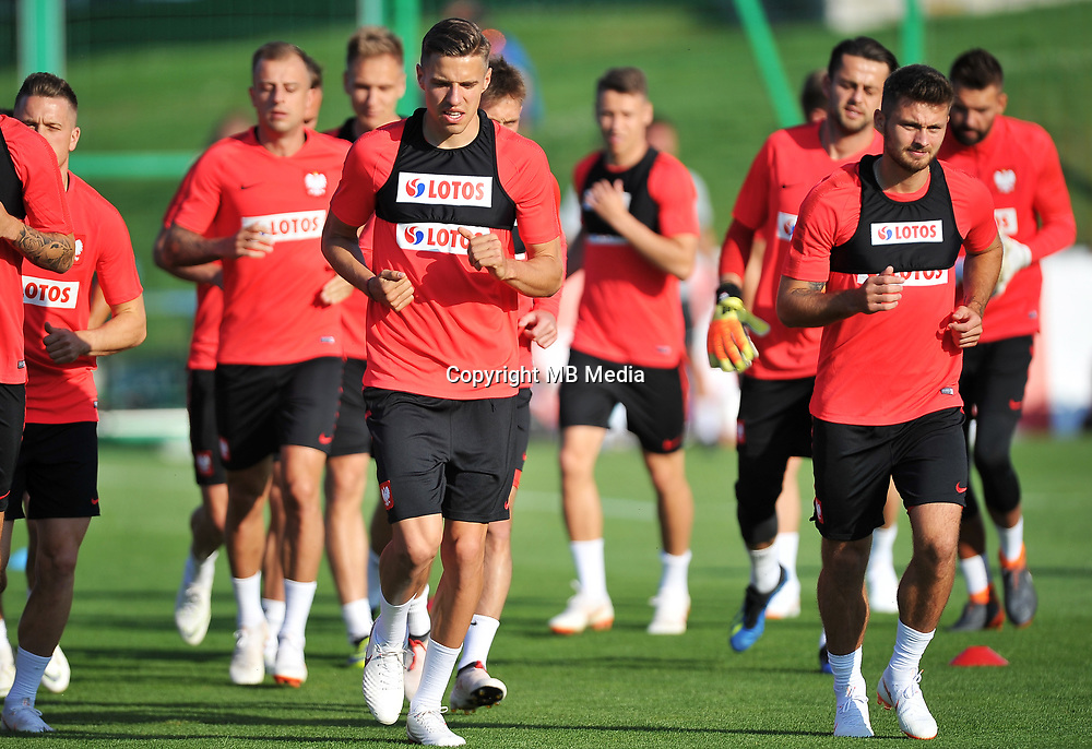 ARLAMOW, POLAND - MAY 31: Jan Bednarek and Karol Linetty during a training session of the Polish national team at Arlamow Hotel during the second phase of preparation for the 2018 FIFA World Cup Russia on May 31, 2018 in Arlamow, Poland. (MB Media)