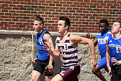 Lebanon senior Ryan Sullivan pushes to the finish in the boys 100 meter dash at the NHIAA Division II track and field championship at UNH on Saturday, May 25, 2019.  (Alan MacRae/Valley News)