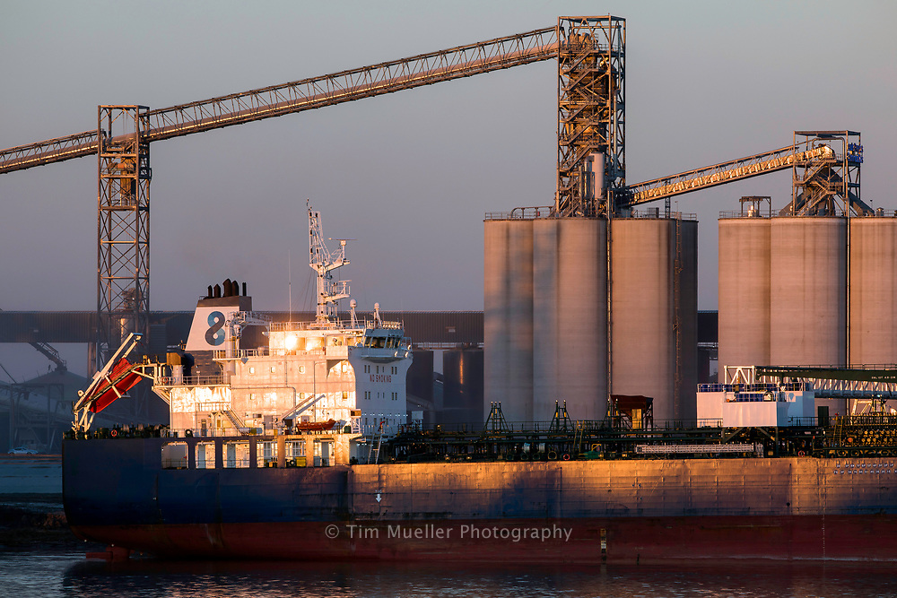 An ocean going cargo ship is docked at the Port of Greater Baton Rouge in Port Allen, La.