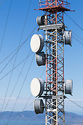 Microwave radio link relay dish antenna on tower <br /> <br /> Editions:- Open Edition Print / Stock Image
