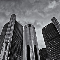 """""""RenCen in Siver"""" B&W<br /> <br /> The beautiful RenCen, or GM Renaissance Center located in Detroit Michigan.<br /> A wonderful and dramatic black and white image of the world headquarters for General Motors.<br /> Cities and skyscrapers by Rachel Cohen"""