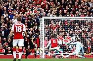 Aaron Ramsey of Arsenal (c) scores his team's second goal. Premier league match, Arsenal v Swansea city at the Emirates Stadium in London on Saturday 28th October 2017.<br /> pic by Steffan Bowen, Andrew Orchard sports photography.
