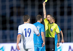 Tim Matavz of Slovenia and referee Robert Schoergenhofer with yellow card during friendly football match between national teams of Slovenia and Greece, on May 26, 2012 in Kufstein, Austria.   (Photo by Vid Ponikvar / Sportida.com)