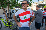 """Former American professional cyclist Lance Armstrong rides with Lebanese and foreign cyclists at the site of the August 4 deadly blast in the port of Beirut that killed scores and wounded thousands in Beirut, Lebanon, Sunday, Oct. 4, 2020. Armstrong led the charity bike tour named, """"Bike for Beirut,"""" to raise awareness and fund organizations that are helping residents of the Lebanese capital who suffered losses as a result of the massive blast. (VXP Photo/ Matt Kynaston)"""