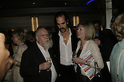 Peter Blake, Nick Cave and Chrissie Blake, The John Betjeman Variety Show, sponsored by Shell, in aid of Sane. In the Presnece of the Prince of Wales and the Duchess of Cornwall. Prince of Wales theatre. London. 10 September 2006. ONE TIME USE ONLY - DO NOT ARCHIVE  © Copyright Photograph by Dafydd Jones 66 Stockwell Park Rd. London SW9 0DA Tel 020 7733 0108 www.dafjones.com