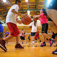 071013  Adron Gardner/Independent<br /> <br /> Basketball campers run the court at the Scout basketball camp in Fort Defiance Wednesday.