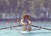 Barcelona, SPAIN. Gold Medalist, GBR M2+, Bow Jonny SEARLE and Greg SEARLE with cox, Gary HERBERT.  Celebrate on the awards dock. 1992 Olympic Rowing Regatta Lake Banyoles, Catalonia [Mandatory Credit Peter Spurrier/ Intersport Images] Last time Men's coxed pair raced at the Olympics,