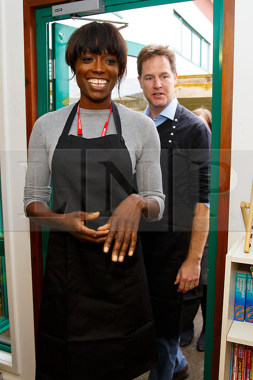 © Licensed to London News Pictures. 03/11/2014. LONDON, UK. Lorraine Pascale and The Deputy Prime Minister Nick Clegg meet school children over lunch at Weston Park Primary School in Crouch End, London on Monday 3 November 2014. Photo credit : Tolga Akmen/LNP