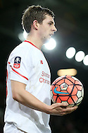 Jon Flanagan of Liverpool prepares to take a throw in. The Emirates FA cup, 4th round replay match, West Ham Utd v Liverpool at the Boleyn Ground, Upton Park  in London on Tuesday 9th February 2016.<br /> pic by John Patrick Fletcher, Andrew Orchard sports photography.