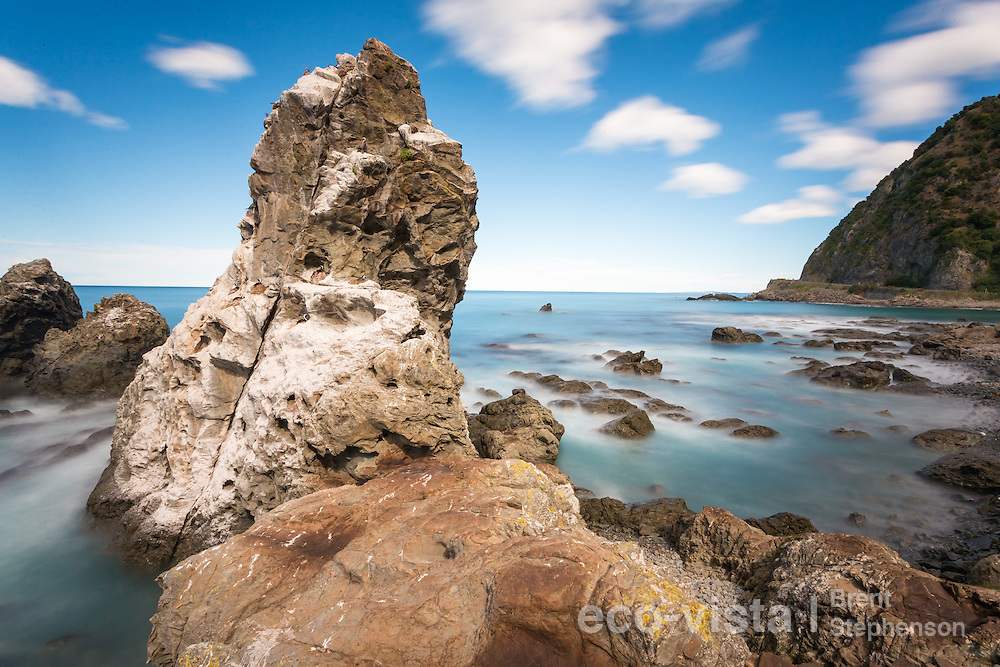 Long exposure of the tidal shoreline near Ohau Point, with expose rocks and waves breaking. New Zealand fur seals (Arctocephalus forsteri) can be seen on top of some of the rocks, and nesting spotted shags (Stictocarbo punctatus) on others. Ohau Point, Canterbury, New Zealand. September.