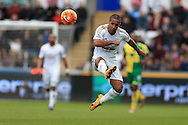 Wayne Routledge of Swansea city in action.  Barclays Premier league match, Swansea city v Norwich city at the Liberty Stadium in Swansea, South Wales  on Saturday 5th March 2016.<br /> pic by  Andrew Orchard, Andrew Orchard sports photography.