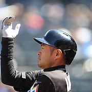 NEW YORK, NEW YORK - APRIL 13: Ichiro Suzuki, Miami Marlins, batting during the Miami Marlins Vs New York Mets MLB regular season ball game at Citi Field on April 13, 2016 in New York City. (Photo by Tim Clayton/Corbis via Getty Images)