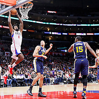 25 November 2015: Los Angeles Clippers center DeAndre Jordan (6) goes for the dunk over Utah Jazz center Rudy Gobert (27) during the Utah Jazz 102-91 victory over the Los Angeles Clippers, at the Staples Center, Los Angeles, California, USA.
