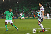 Zlatan Ibrahimovic Forward of Manchester United takes on Saint-Etienne Defender Kevin Theophile Catherine during the Europa League match between Saint-Etienne and Manchester United at Stade Geoffroy Guichard, Saint-Etienne, France on 22 February 2017. Photo by Phil Duncan.