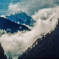 Manaslu Peak towers over the Manang Valley, north of Annapurna in Nepal.