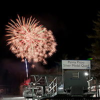 Gunstock Mountain Resort fireworks on the mountain February 26, 2011.