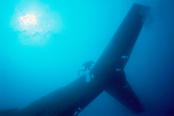 tail assembly of Boeing 727-100 wreck, .sunk as an artificial reef in 1993, .Miami, Florida (Atlantic).