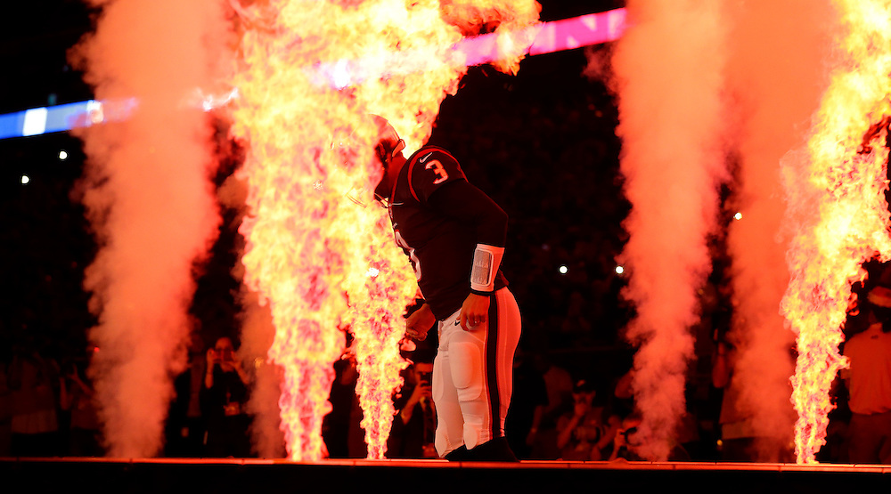 Houston Texans quarterback Tom Savage (3) is introduced before an NFL football game against the Cincinnati Bengals Saturday, Dec. 24, 2016, in Houston. (AP Photo/Sam Craft)