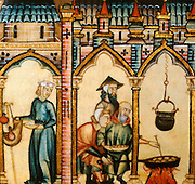 SPAIN, MIDDLE AGES, EL ESCORIAL 13thC Cantigas illuminated poems created for Alfonso X of Castile shows pilgrims preparing food