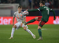 MOSCOW, RUSSIA - OCTOBER 27: Benjamin Pavard of FC Mayern Muenchen and Grzegorz Krychowiak of Lokomotiv Moskva during the UEFA Champions League Group A stage match between Lokomotiv Moskva and FC Bayern Muenchen at RZD Arena on October 27, 2020 in Moscow, Russia. (Photo by MB Media)