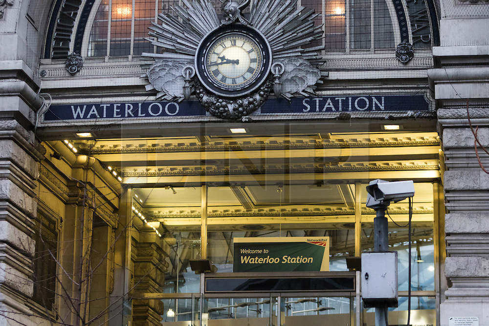© Licensed to London News Pictures. 03/01/2015. London, UK. A general view of the entrance of Waterloo Station in London this morning. A murder investigation has been launched after a man died following an assault at a Bus Stop outside of Waterloo Station at approximately 02:45 this morning. Photo credit : Vickie Flores/LNP