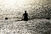 Caversham, Great Britain,  General Views, GV's. [George NASH] Scullers moving down to the start area in preparation for   the November sculling Test and Pairs race.  Caversham Lake, GB Rowing,  Training Centre.  {DOW  {DATE} [Mandatory Credit. Peter Spurrier/Intersport Images] Sunrise, Ground Mist and Rain. Silhouettes