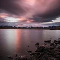 Sunset over lake Tärnasjön, near Tärnasjös hut, Kungsleden trail, Lapland, Sweden