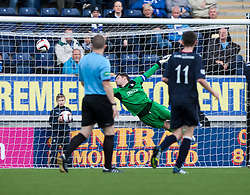 Falkirk's keeper Michael McGovern can't stop Queen of the South's Iain Russell scoring their goal.<br /> Falkirk 2 v 1 Queen of the South, Scottish Championship 5/10/2013.<br /> ©Michael Schofield.