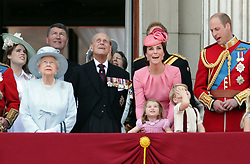 (left to right) Princess Eugenie, Queen Elizabeth II, The Duke of Edinburgh, Duchess of Cambridge, Princess Charlotte, Prince George and The Duke of Cambridge on the balcony of Buckingham Palace, in central London, following the Trooping the Colour ceremony at Horse Guards Parade as the Queen celebrates her official birthday today.