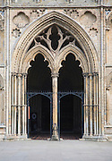 Entrance doorway to west tower of Ely cathedral, Cambridgeshire, England