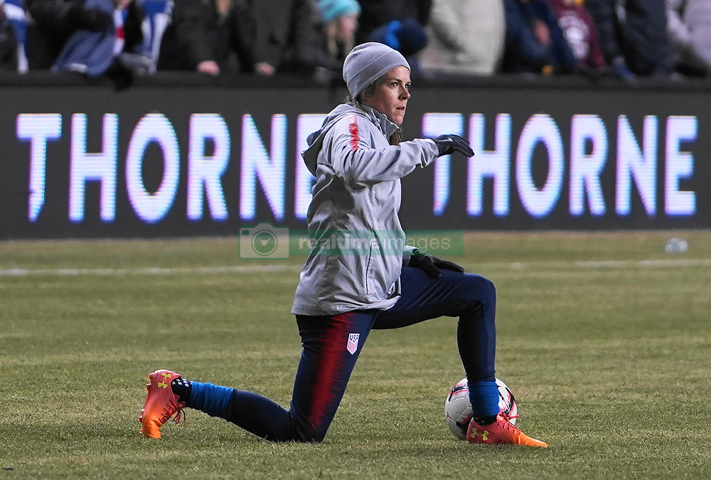 February 28, 2019 - Chester, United States - Kelley O'Hara of The United States warming up.during the She Believes Cup football match between The United States and Japan at Talen Energy Stadium on February 27, 2019 in Chester, Pennsylvania, United States. (Credit Image: © Action Foto Sport/NurPhoto via ZUMA Press)