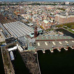 Aerial view of  Central Railroad of New Jersey Terminal, Statue Cruises