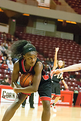 06 December 2006: Porcia Green protects a rebound possession.  In a non-conference game, the Cardinals of Ball State visited the Redbirds home at Redbird Arena in Normal Illinois on the campus of Illinois State University.<br />