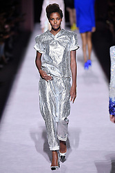 Model Karly Loyce walks on the runway during the Tom Ford Fashion Show during New York Fashion Week Spring Summer 2018 in New York, NY on September 6, 2017. (Photo by Jonas Gustavsson/Sipa USA)
