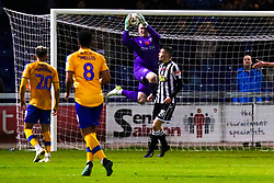 Conrad Logan of Mansfield Town jumps to make a save - Mandatory by-line: Ryan Crockett/JMP - 09/11/2019 - FOOTBALL - One Call Stadium - Mansfield, England - Mansfield Town v Chorley - Emirates FA Cup first round