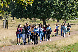 Licensed to London News Pictures. 21/09/2021. Surrey, UK. Walkers enjoy the sunshine in Richmond Park, south-west London today as weather forecasters predict warm autumnal weather for the next 7 days with highs of 24c.  Photo credit: Alex Lentati/LNP