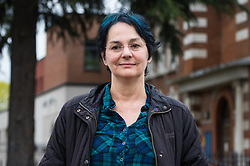 Maria MacLachan talks to the press after transexual Tara Wolf, 26, from Stratford, outside Hendon Magistrate's Court in London where she was found guilty of assaulting 61yo MacLachan when a brawl broke out between feminists and transgender activists at Speakers' Corner. London, April 13 2018.