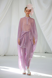 Models on the catwalk during the Delpozo London Fashion Week September 2018 show at RIBA, London