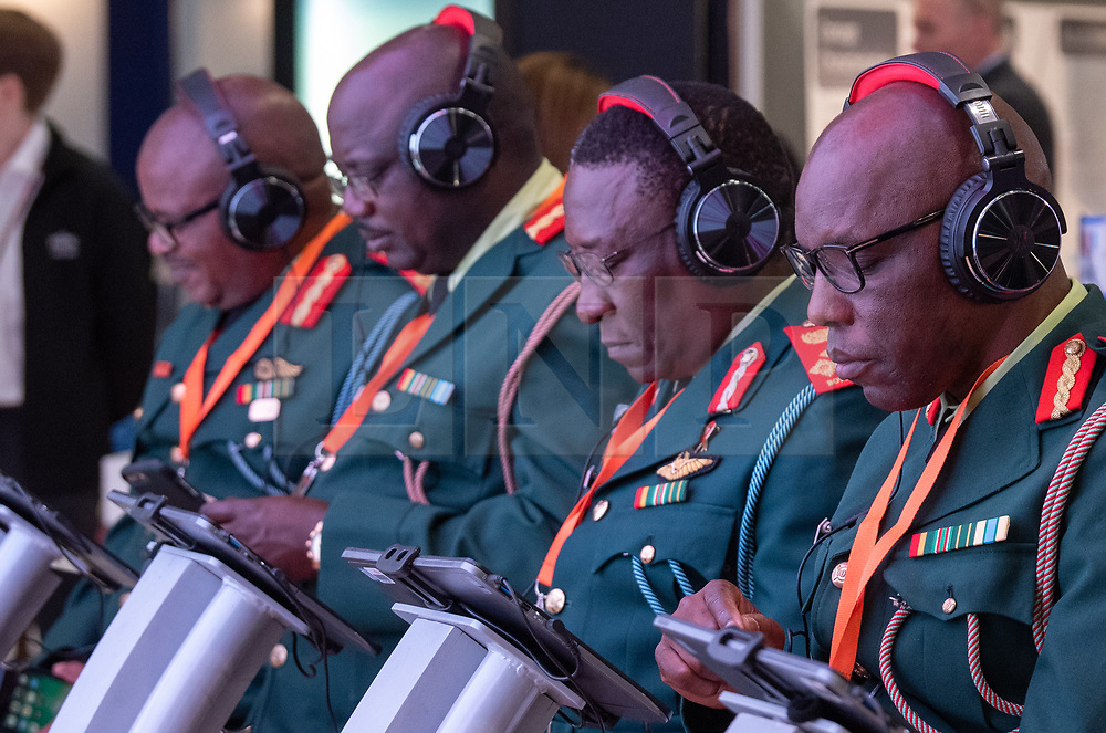 © Licensed to London News Pictures. 10/09/2019. London, UK. A military delegation from Botswana take part in an information technology demonstration at DESI. Defence & Security Equipment International (DESI) is the worlds largest arms fair and is held every two years in London. Photo credit: Peter Manning/LNP