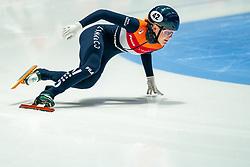 Xandra Velzeboer of Netherlands in action on 500 meter during ISU World Short Track speed skating Championships on March 05, 2021 in Dordrecht