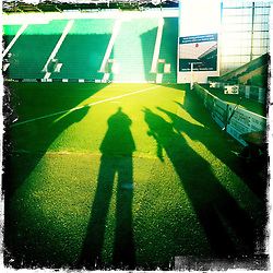 Easter Road is a football stadium located in the Leith area of Edinburgh, Scotland, which is the home ground of Scottish Premier League club Hibernian (Hibs)..Hipstamatic images taken on an Apple iPhone..©Michael Schofield.