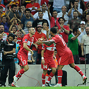 Turkey's Burak YILMAZ (L) celebrate his goal with team mate during their UEFA EURO 2012 Qualifying round Group A soccer match Turkey betwen Kazakhstan at TT Arena Istanbul September 02, 2011. Photo by TURKPIX